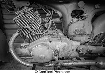 The lod motorcycle engine block , black and white tone