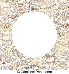 Tea Time Frame. Best For Invitation, Birthday Party Card.