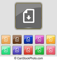 import, download file icon sign. Set with eleven colored buttons for your site. Vector