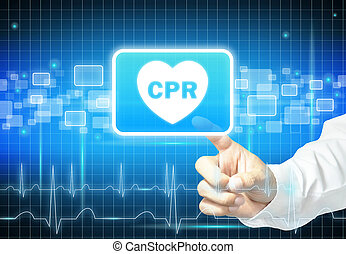 Hand touching CPR sign on virtual screen - health care &...