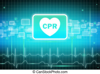 CPR sign on virtual screen - health care & medical concept