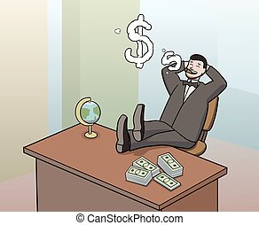 smoking businessman - This is an illustration of businessman...