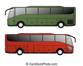 Tourist bus design with single axle in the back side view