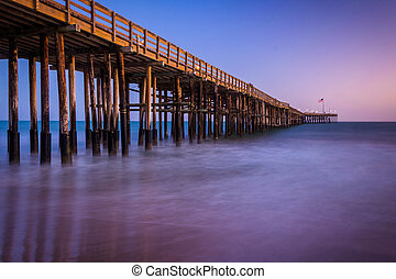Long exposure of the pier at twilight, in Ventura,...