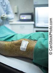 paciente,  hospital, después, clínica,  prp, inyección