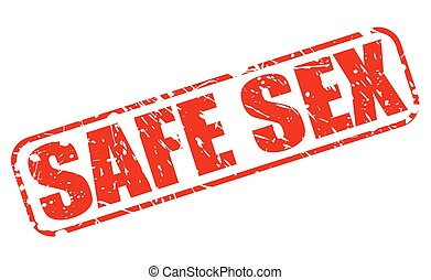 Safe sex red stamp text