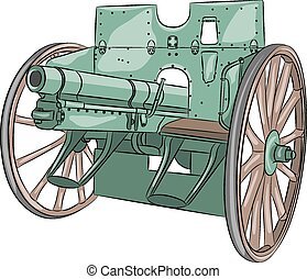 Vector. Cannon. - Cannon of World War I isolated on white...