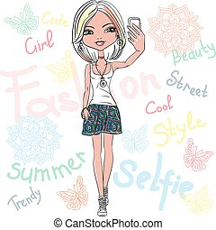 Vector cute girl makes selfie - Cute beautiful fashionable...