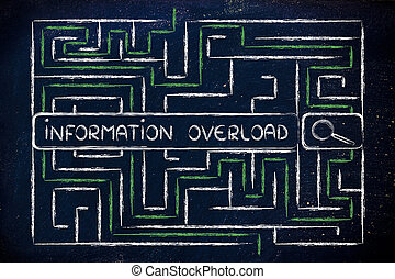 information and data overload, maze and search engine bar -...