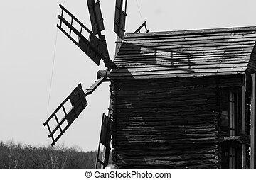 Old mill - Old Ukrainian retro wooden mill summer Pirogovo