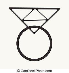 Diamantring gezeichnet  Vektoren Illustration von ring, diamant, schwarz, weißes ...