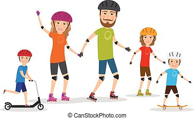 Sports family. Mom, dad and kids roller skate
