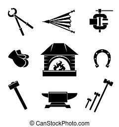 Blacksmith icons - Set of blacksmith icons. Gloves and...
