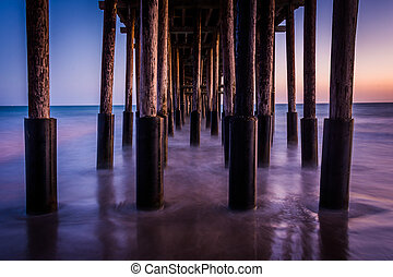 Under the pier at twilight, in Ventura, California.