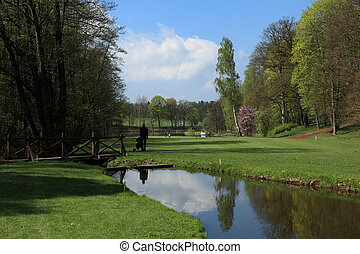beautiful golf course - fairway of a beautiful golf course...