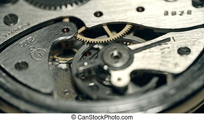 Time Flies - Focus shift from one piece of watch mechanism...