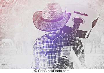 Cowboy Farmer with Guitar and Straw Hat on Horse Ranch -...
