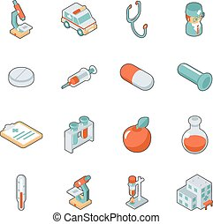 Medicine and health care isometric 3d icons. Symbol medical...