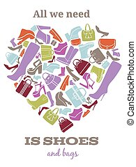 All we need is shoes Womens shoes sign in shape of heart Bag...