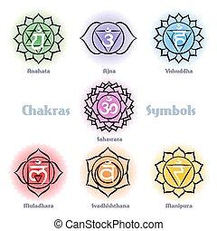 Chakras symbols vector set. Manipura muladhara sahasrara...