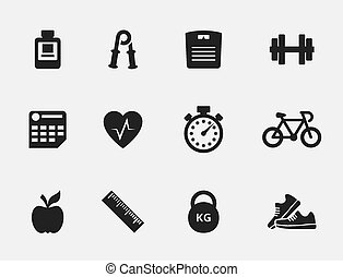 Fitness icons set - Set of fitness icons Health and weight,...