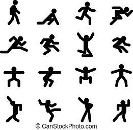 Human action poses Running walking, jumping and squatting,...