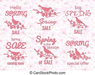 Spring sale labels with cherry blossom background and birds