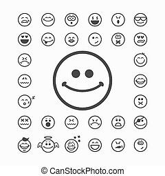 Smiley faces icons. Emoticon happy and cry, sad and...