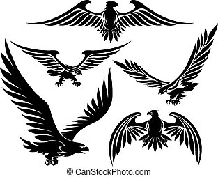Heraldic eagle icons set. Bird tattoo, hunter black, vector...