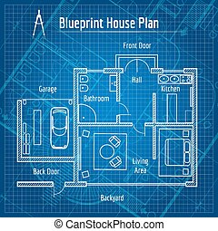 Blueprint house plan. Design architecture home, drawing...