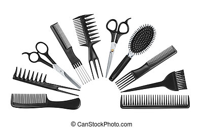 collection of professional tools hairdresser isolated on...