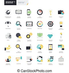 Set of business and banking icons - Set of modern flat...