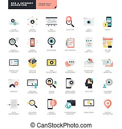 SEO and internet marketing icons - Set of modern flat design...