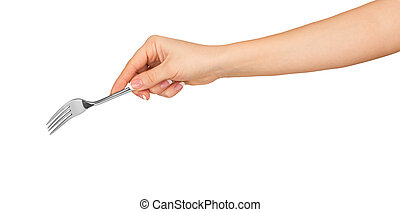 hand holding a silver fork on an isolated white background