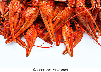appetizing red crawfish - appetizing red boiled crawfish on...
