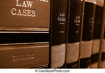 Law books on a shelf - Law cases and law books on a shelf...