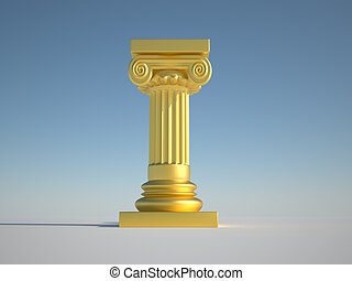 Pillar column - Medieval golden column on clear sky - 3d...