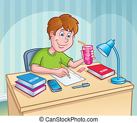 Boy Working On homework Assignment - Cartoon illustration of...