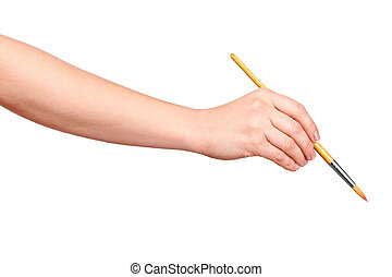hand draws a brush on an isolated white background