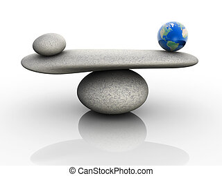 Natural balance concept - Earth globe balancing rocks - 3d...