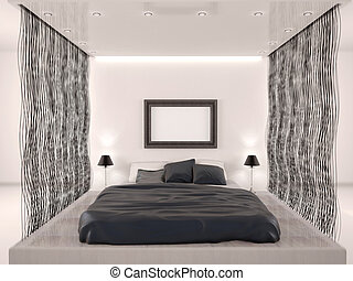 3d illustration of  bedroom in modern style