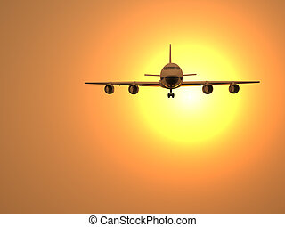 Airplane and sun - 3d illustration of airplane flying at...