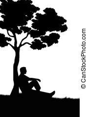 man silhouette - illustration,silhouette of man sitting...