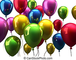 Ballons - Colorful balloons isolated on white background -...