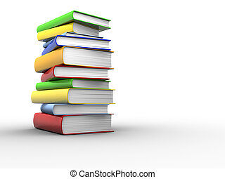 Books stack - Stack of colorful books on white background -...