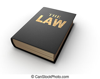 The Law book on white background - 3d render