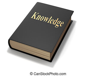 Knowledge - Book with \'knowledge\' text - rendered in 3d