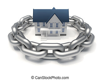 Protected house - House surrounded by a chain - home...
