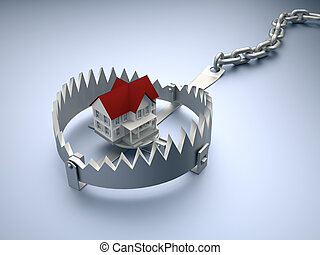 House on trap - A house sitting on a trap suggesting risk in...