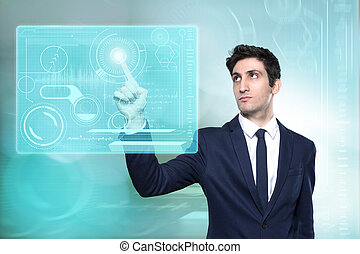 Young businessman navigating in virtual reality interface
